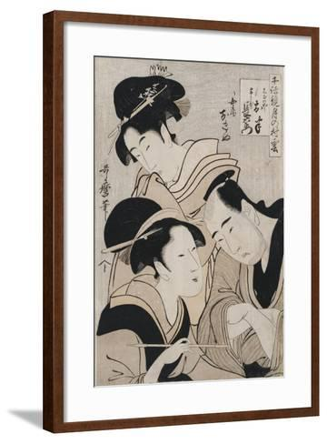 A Triple Portrait of Ohan of the Shinanoya-Kitagawa Utamaro-Framed Art Print