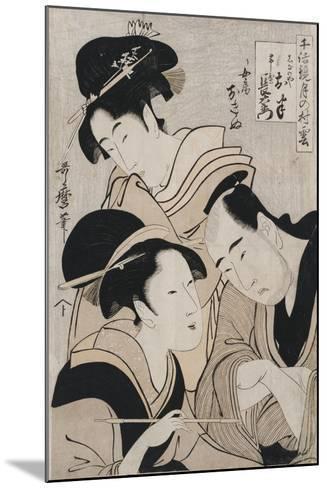 A Triple Portrait of Ohan of the Shinanoya-Kitagawa Utamaro-Mounted Giclee Print