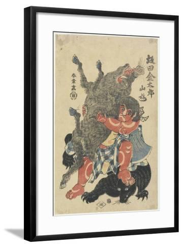 Sakata Kintaro Playing with Wild Animals in Mountain, Late 18th Century-Katsukawa Shunsho-Framed Art Print