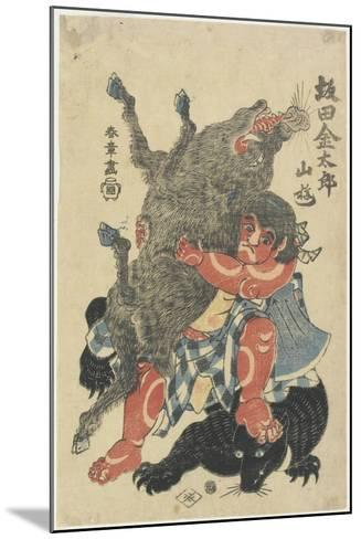 Sakata Kintaro Playing with Wild Animals in Mountain, Late 18th Century-Katsukawa Shunsho-Mounted Giclee Print