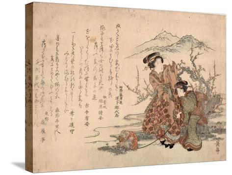 Baika Saru Hiku Musume-Keisai Eisen-Stretched Canvas Print