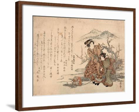 Baika Saru Hiku Musume-Keisai Eisen-Framed Art Print