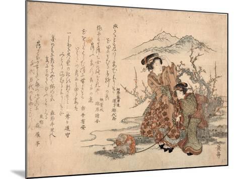 Baika Saru Hiku Musume-Keisai Eisen-Mounted Giclee Print