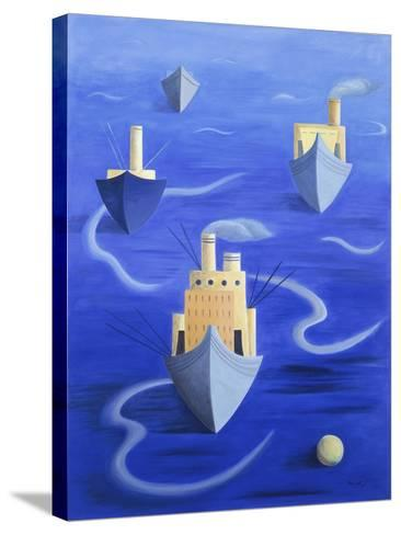 Boats in Harbour, 1994-Marie Hugo-Stretched Canvas Print