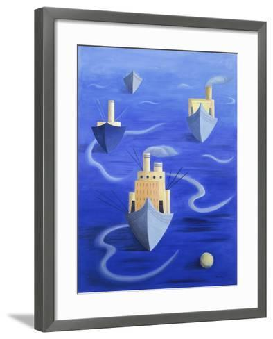 Boats in Harbour, 1994-Marie Hugo-Framed Art Print