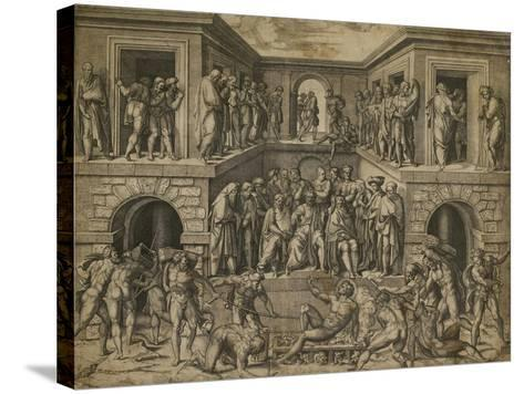 The Martyrdom of St Lawrence, C. 1525-Marcantonio Raimondi-Stretched Canvas Print