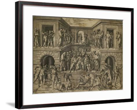 The Martyrdom of St Lawrence, C. 1525-Marcantonio Raimondi-Framed Art Print