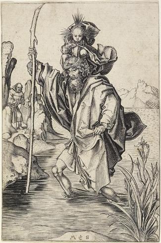 Saint Christopher, C. 1475-1480-Martin Schongauer-Stretched Canvas Print