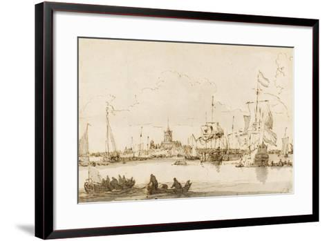 A View of Vlaardingen with Shipping in the Foreground (Pen and Ink with Wash on Paper)-Ludolf Backhuysen-Framed Art Print