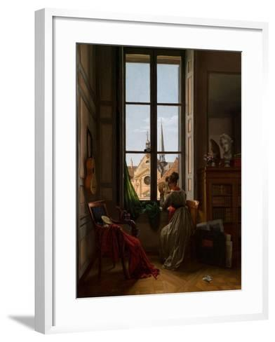 Interior with Young Woman Tracing a Flower, C.1820-22-Louise Adeone Droelling-Framed Art Print