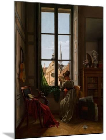 Interior with Young Woman Tracing a Flower, C.1820-22-Louise Adeone Droelling-Mounted Giclee Print