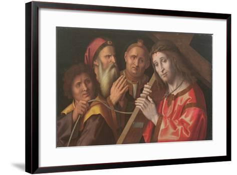 Christ Carrying the Cross and Two Saints-Marco Palmezzano-Framed Art Print