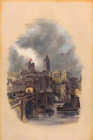 The Old Tyne Bridge, Moot Hall, St Nicholas' Cathedral and Castle (Ink and W/C on Paper)-Mary Jane Hancock-Stretched Canvas Print