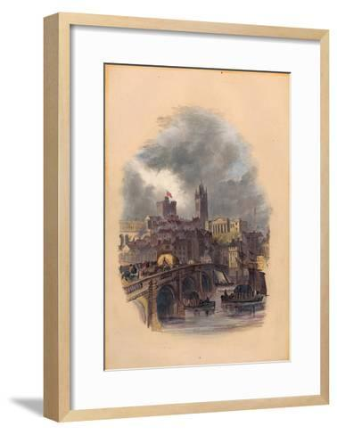 The Old Tyne Bridge, Moot Hall, St Nicholas' Cathedral and Castle (Ink and W/C on Paper)-Mary Jane Hancock-Framed Art Print