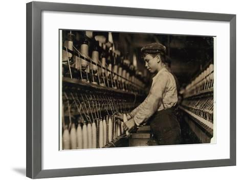 A Doffer Replaces Full Bobbins at Globe Cotton Mill, Augusta, Georgia, 1909-Lewis Wickes Hine-Framed Art Print