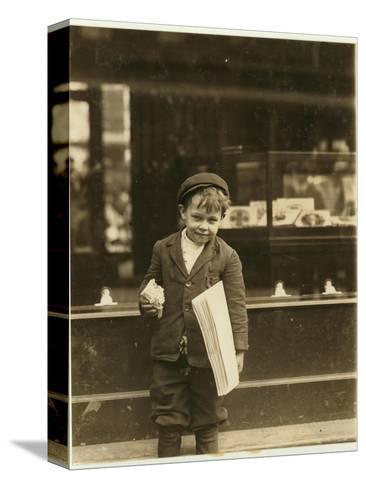 5 Year Old Newsboy Tommy Hawkins Only 3 Ft 4 Ins Tall, Working in St. Louis, Missouri, 1910-Lewis Wickes Hine-Stretched Canvas Print