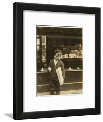 5 Year Old Newsboy Tommy Hawkins Only 3 Ft 4 Ins Tall, Working in St. Louis, Missouri, 1910-Lewis Wickes Hine-Framed Art Print