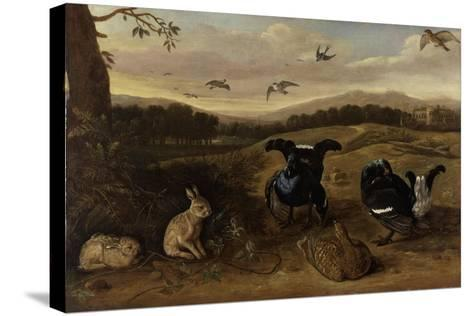 Black Game, Rabbits and Swallows in a Park, C.1700-Leonard Knyff-Stretched Canvas Print