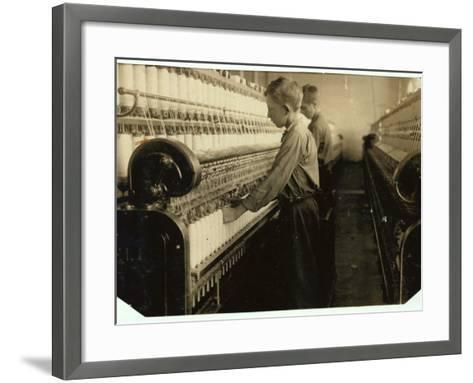 Doffers Replacing Full Bobbins at Indian Orchard Cotton Mill, Massachusetts, 1916-Lewis Wickes Hine-Framed Art Print