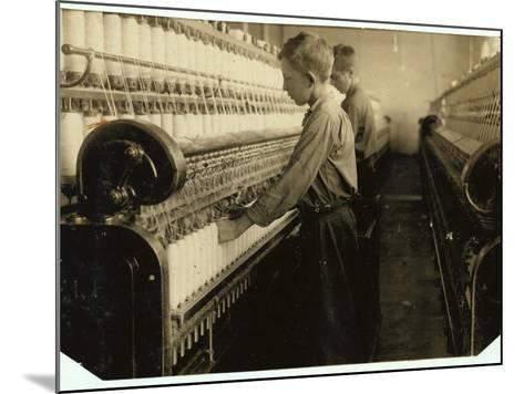 Doffers Replacing Full Bobbins at Indian Orchard Cotton Mill, Massachusetts, 1916-Lewis Wickes Hine-Mounted Photographic Print