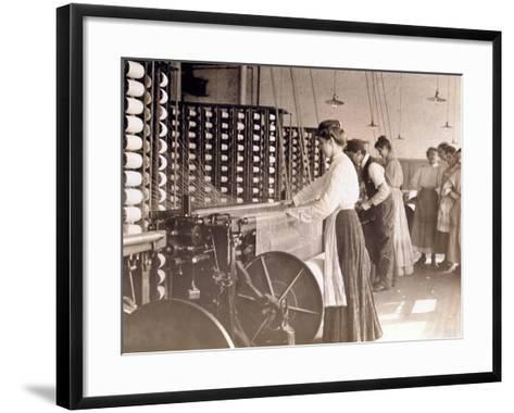 Young Women Working at a Spinning Machine in a Cotton Mill, South Carolina, 1908-Lewis Wickes Hine-Framed Art Print