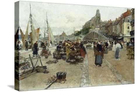 Marketplace by a Harbour-Luigi Loir-Stretched Canvas Print