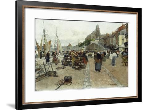 Marketplace by a Harbour-Luigi Loir-Framed Art Print