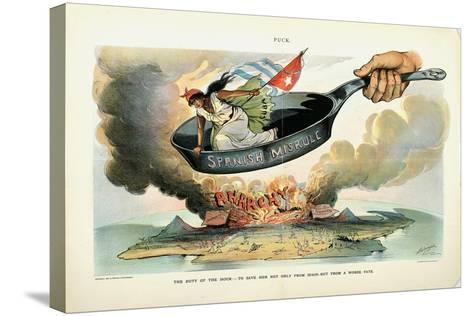 The Duty of the Hour: - to Save Her [Cuba] Not Only from Spain - But from a Worse Fate, 1898-Louis Dalrymple-Stretched Canvas Print