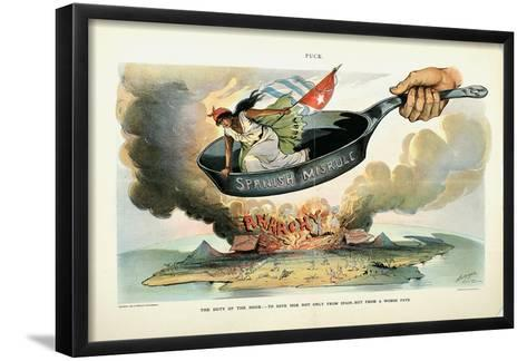 The Duty of the Hour: - to Save Her [Cuba] Not Only from Spain - But from a Worse Fate, 1898-Louis Dalrymple-Framed Art Print
