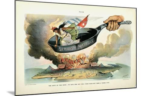 The Duty of the Hour: - to Save Her [Cuba] Not Only from Spain - But from a Worse Fate, 1898-Louis Dalrymple-Mounted Giclee Print