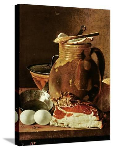 Still Life with Ham, Eggs, Bread, Frying Pan and Pitcher-Luis Egidio Melendez-Stretched Canvas Print