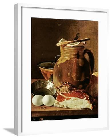 Still Life with Ham, Eggs, Bread, Frying Pan and Pitcher-Luis Egidio Melendez-Framed Art Print