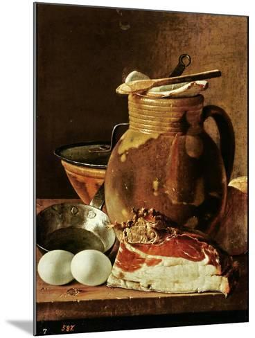Still Life with Ham, Eggs, Bread, Frying Pan and Pitcher-Luis Egidio Melendez-Mounted Giclee Print