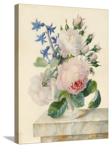 Vase Containing a Centifolia and an Alba Rose-Madame de Ligny-Stretched Canvas Print