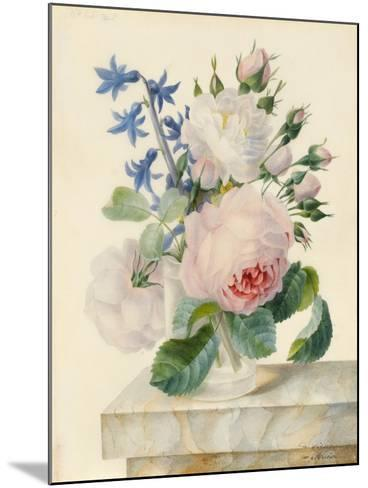 Vase Containing a Centifolia and an Alba Rose-Madame de Ligny-Mounted Giclee Print
