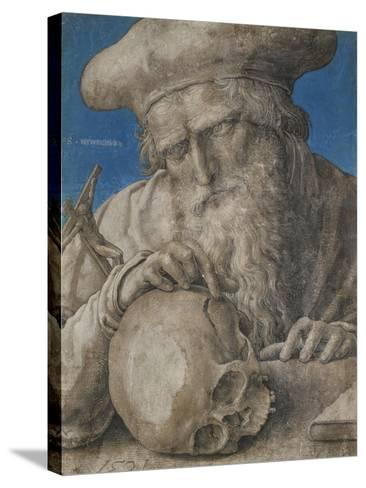 St Jerome, 1521 (Black Chalk with Finely Hatched Brushwork and Blue Ground)-Lucas van Leyden-Stretched Canvas Print