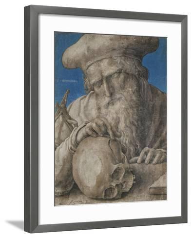 St Jerome, 1521 (Black Chalk with Finely Hatched Brushwork and Blue Ground)-Lucas van Leyden-Framed Art Print