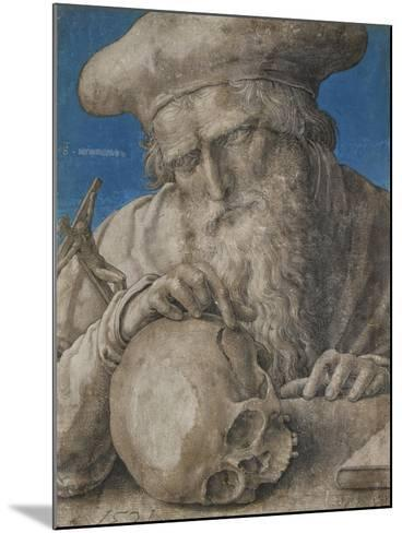 St Jerome, 1521 (Black Chalk with Finely Hatched Brushwork and Blue Ground)-Lucas van Leyden-Mounted Giclee Print