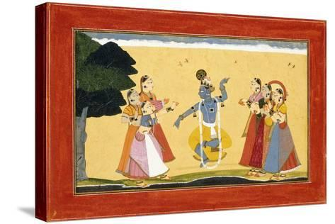Krishna Dancing before the Cowgirls as They Clap their Hands, C.1730-1735 (W/C on Red Paper)- Manaku-Stretched Canvas Print