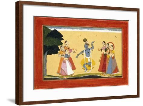 Krishna Dancing before the Cowgirls as They Clap their Hands, C.1730-1735 (W/C on Red Paper)- Manaku-Framed Art Print
