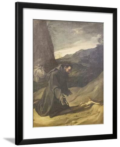 St Francis Adoring the Crucifix, C.1583-84-Lodovico Carracci-Framed Art Print