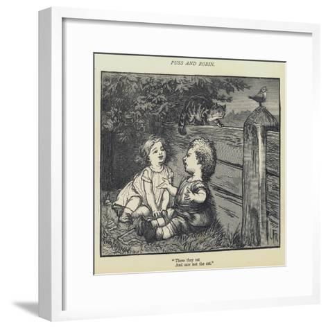 Puss and Robin-Lorens Frolich-Framed Art Print