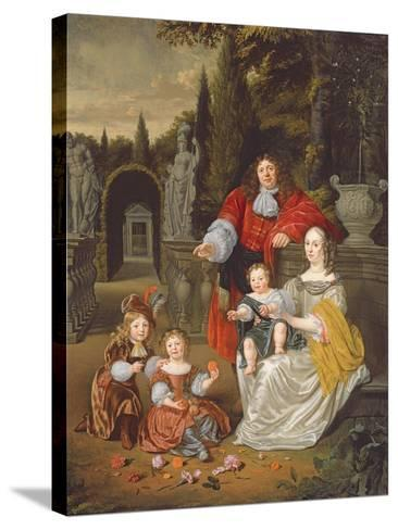 A Family Group on a Terrace, 1670-Michiel Van Musscher-Stretched Canvas Print