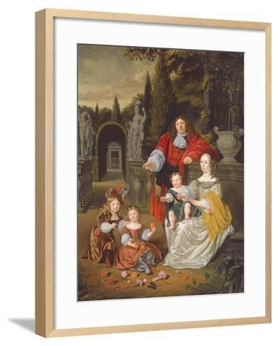 A Family Group on a Terrace, 1670-Michiel Van Musscher-Framed Art Print