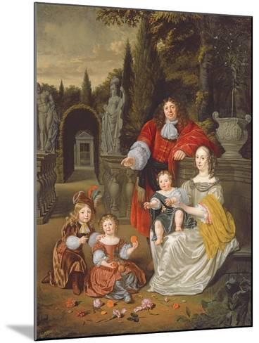 A Family Group on a Terrace, 1670-Michiel Van Musscher-Mounted Giclee Print