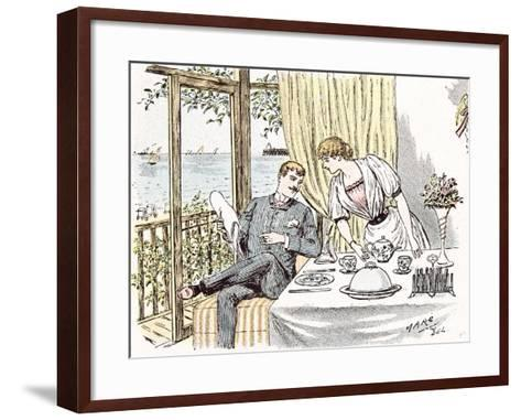 Wedding Anouncement in 1892 at the British Seaside-Maurice Charles Mathieu Bonvoisin-Framed Art Print