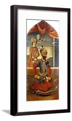Portrait of Genghis Khan, with a Youth in Attendance, C.1803-4-Mihr 'Ali-Framed Art Print