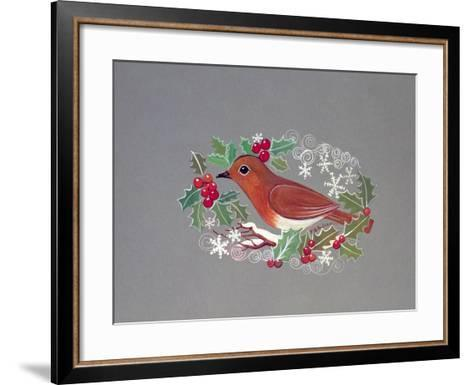 Robin with Snowflakes and Holly-Mike Alexander-Framed Art Print