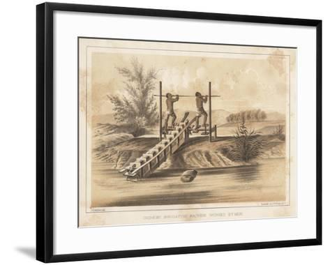 Chinese Irrigating Machine Worked by Men, 1855- Meffert-Framed Art Print