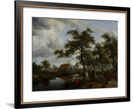 Wooded Landscape with Watermill, C.1665-Meindert Hobbema-Framed Art Print